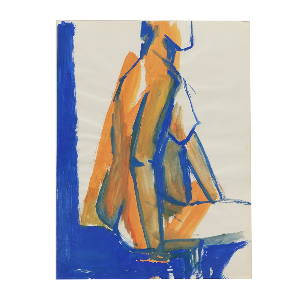 Original Acrylic Painting on Paper of a Female Model