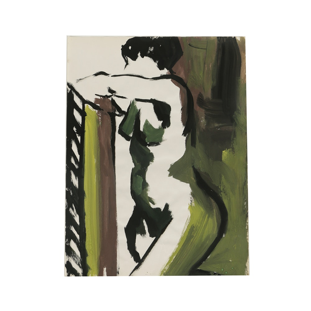 Original Acrylic Painting on Paper of a Female Nude