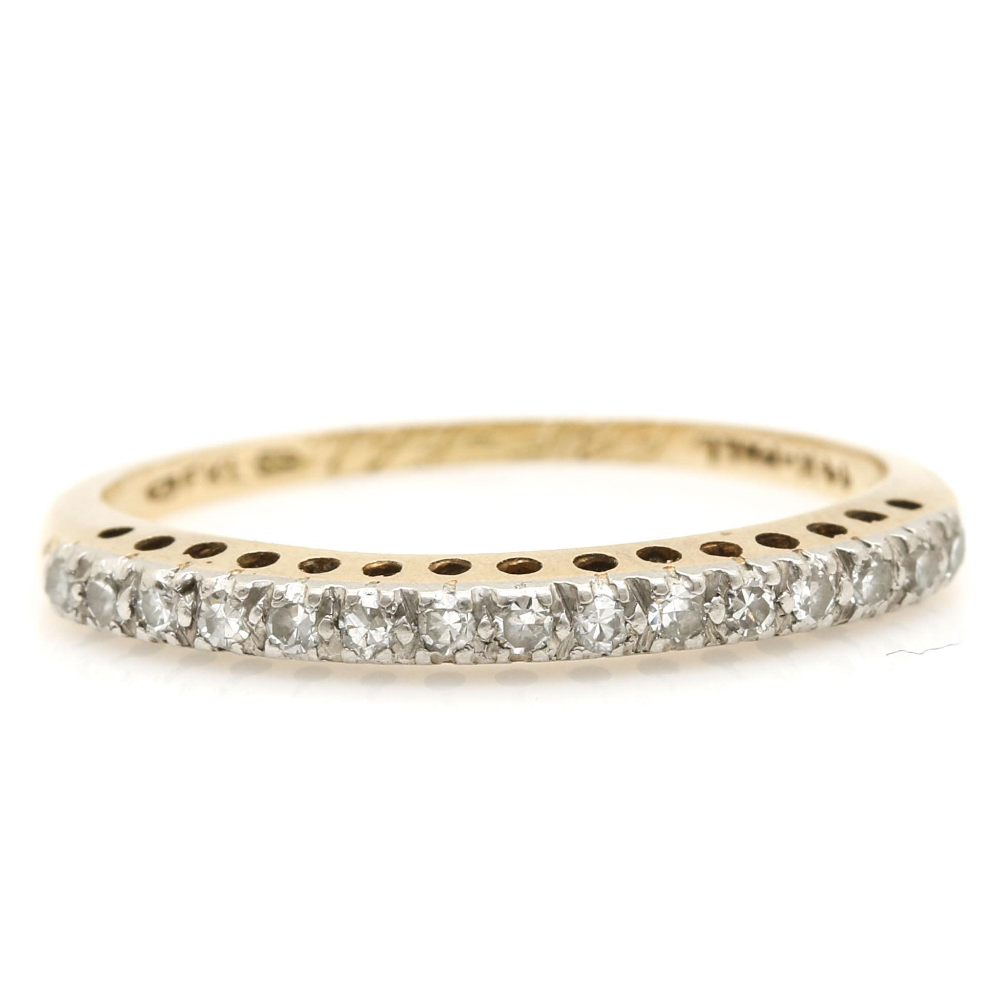 14K Yellow Gold and Palladium Diamond Ring