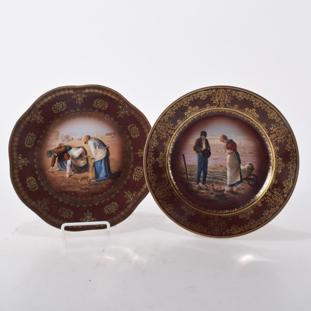Antique Royal Vienna Style Decorative Plates