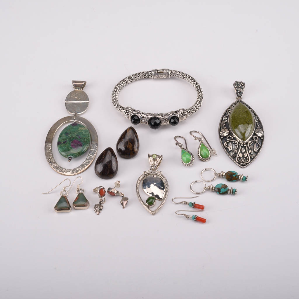Assortment of Sterling Silver Jewelry With Peridot, Agate, Coral, and More