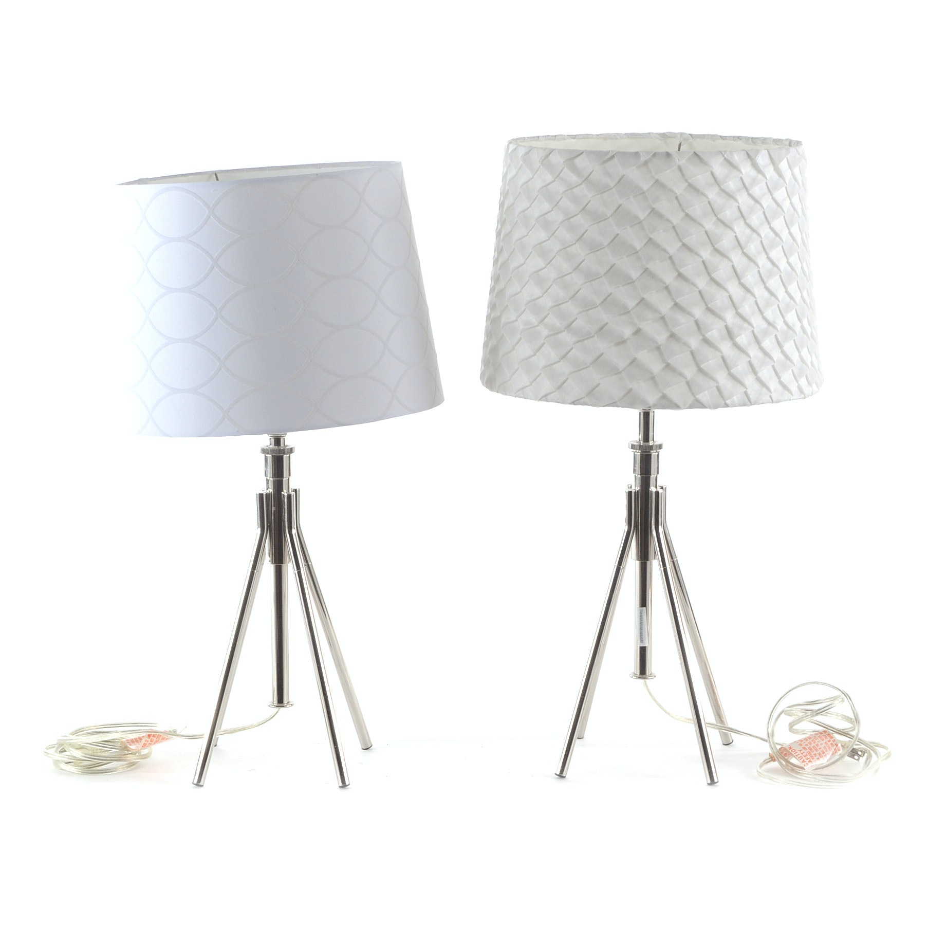 Pair of Chrome Four Leg Table Lamps