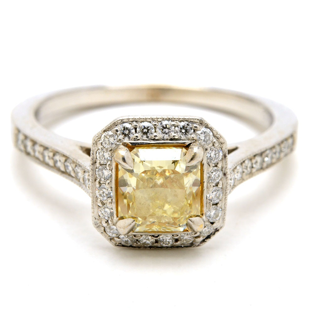 18K White Gold Fancy Yellow Radiant-Cut Diamond Engagement Ring