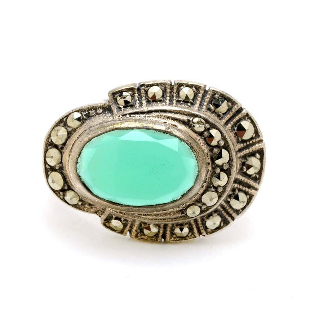 Sterling Silver Dyed Green Chalcedony Marcasite Statement Ring
