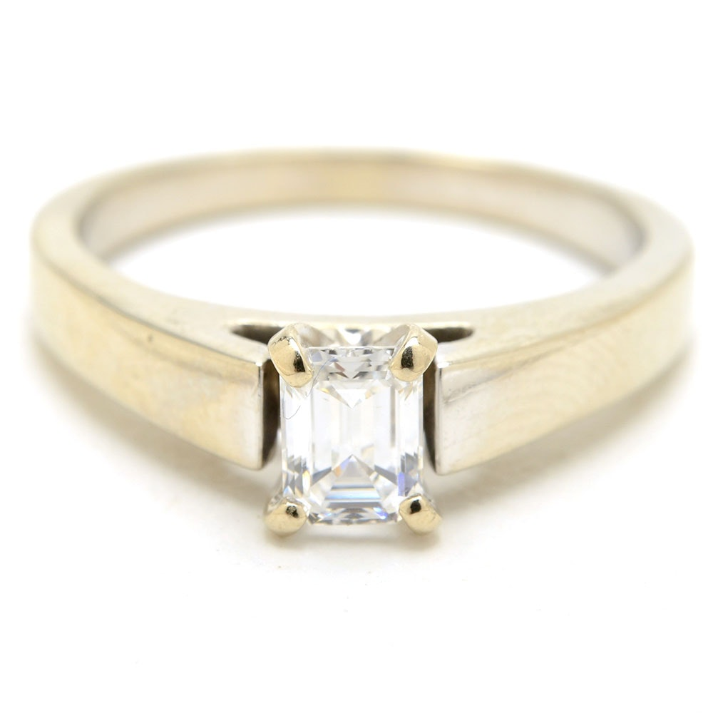 14K White Gold Solitaire Emerald-Cut Diamond Ring with GIA Report