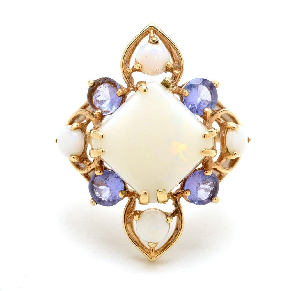 10K Yellow Gold Opal Tanzanite Cocktail Ring