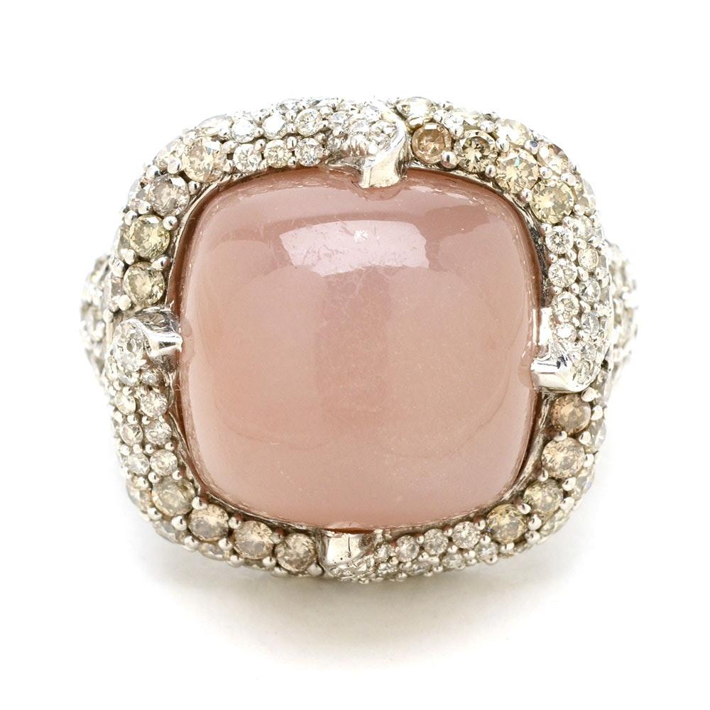 14K White Gold Oligoclase Feldspar Diamond Statement Ring