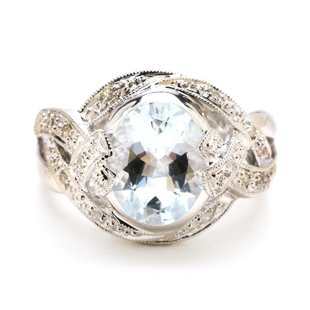14K White Gold 2.2 CTS Aquamarine Diamond Cocktail Ring