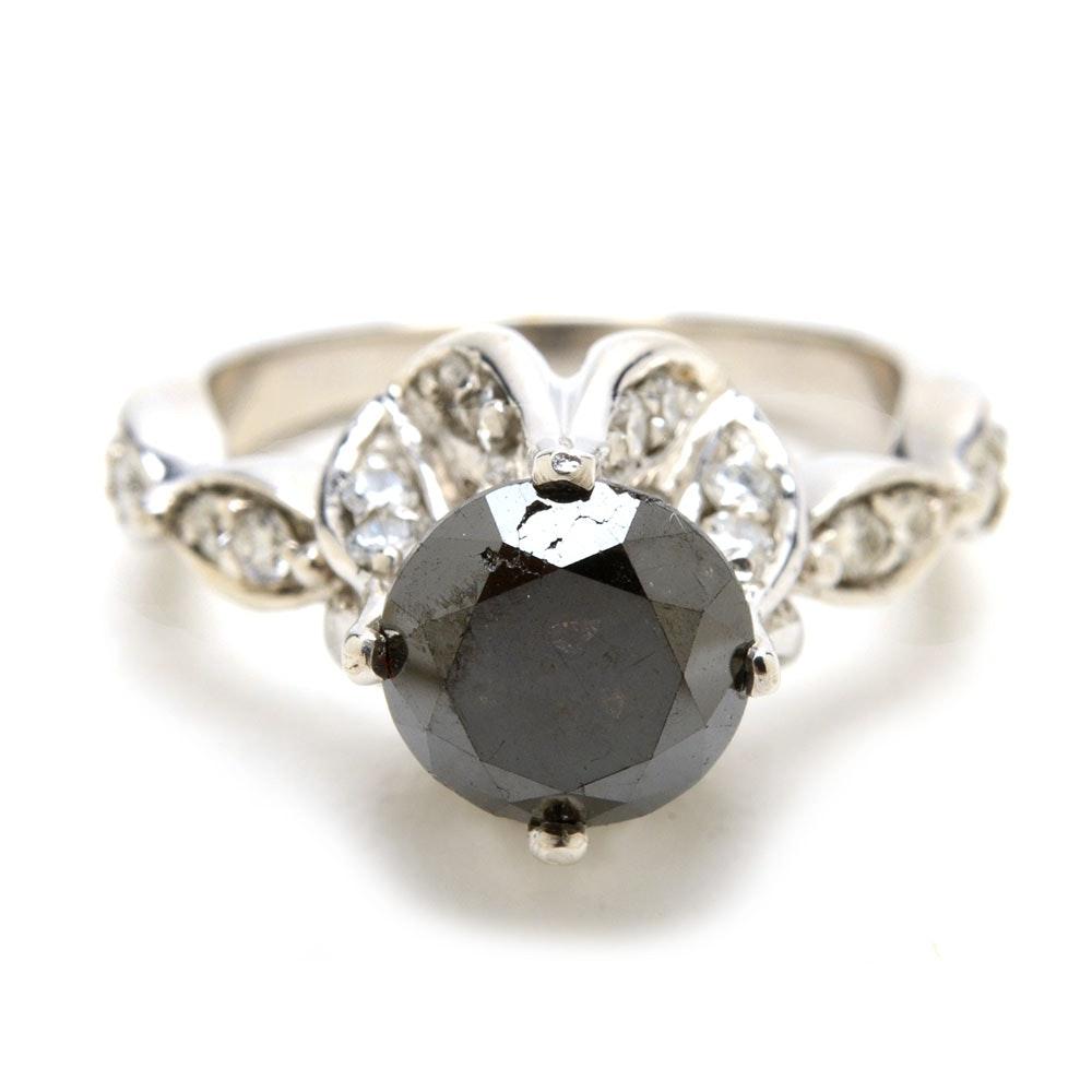 18K White Gold 2.42 CTS Black Diamond Statement Ring