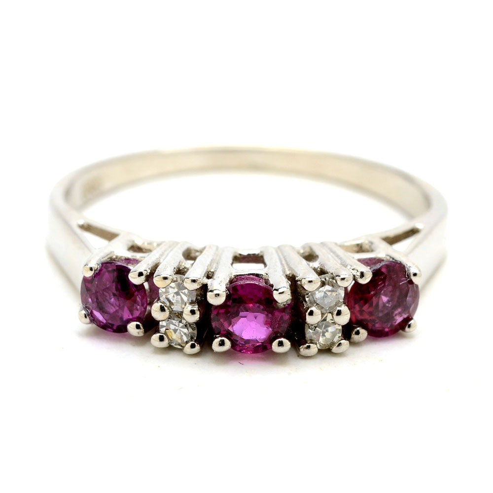 14K White Gold Natural Ruby Diamond Accent Ring
