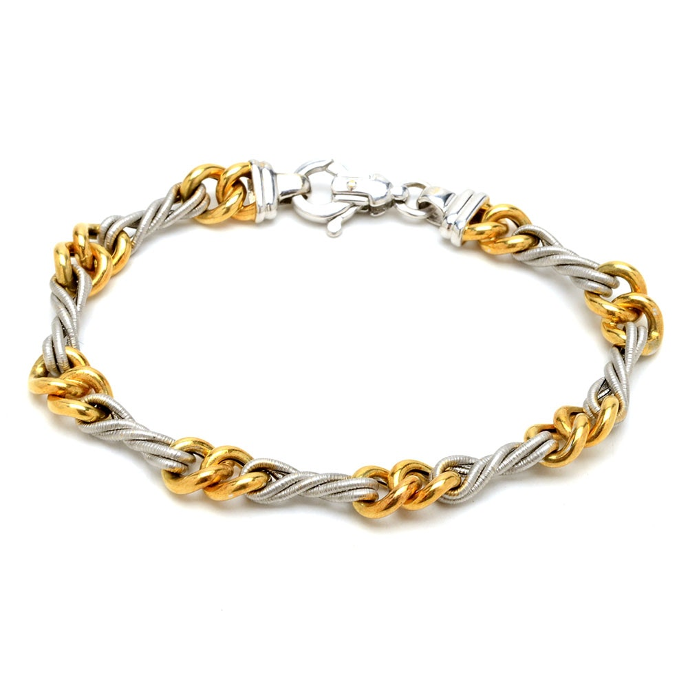 18K Gold Two-Tone Cable Linked Bracelet