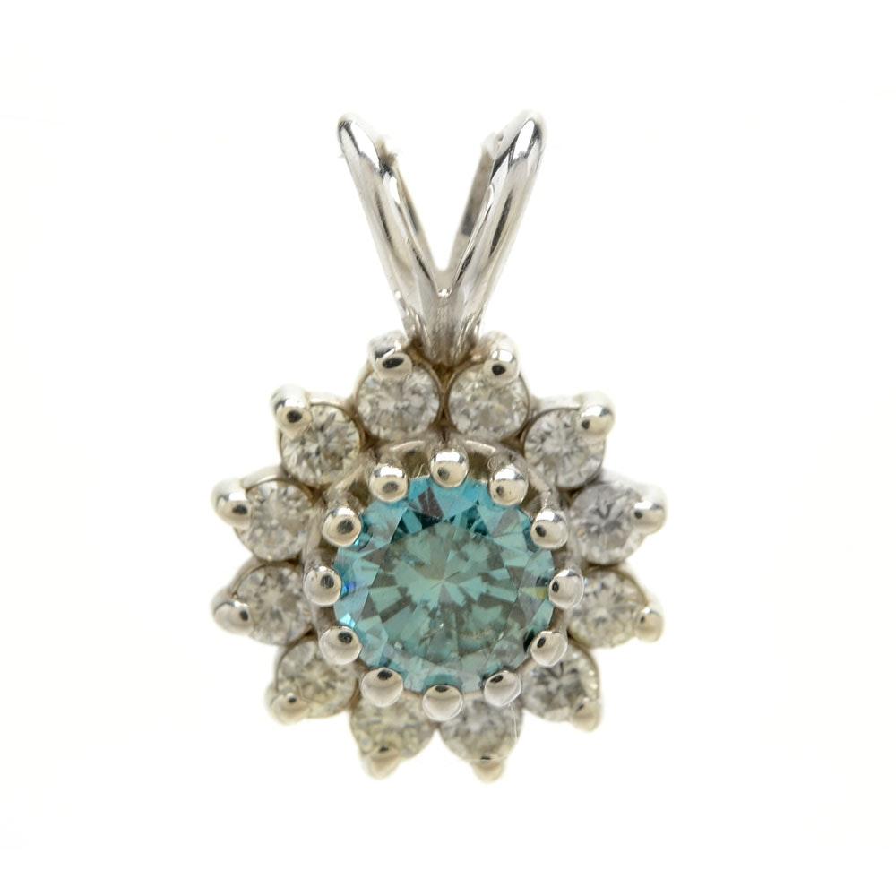 14K White Gold Irradiated Light Blue Diamond Floral Pendant