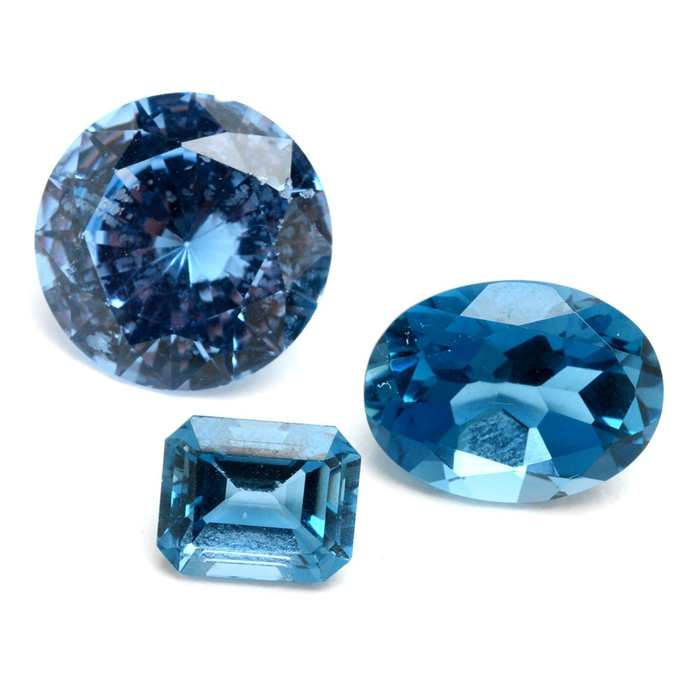 London Blue Topaz and Synthetic Spinel Loose Gemstones