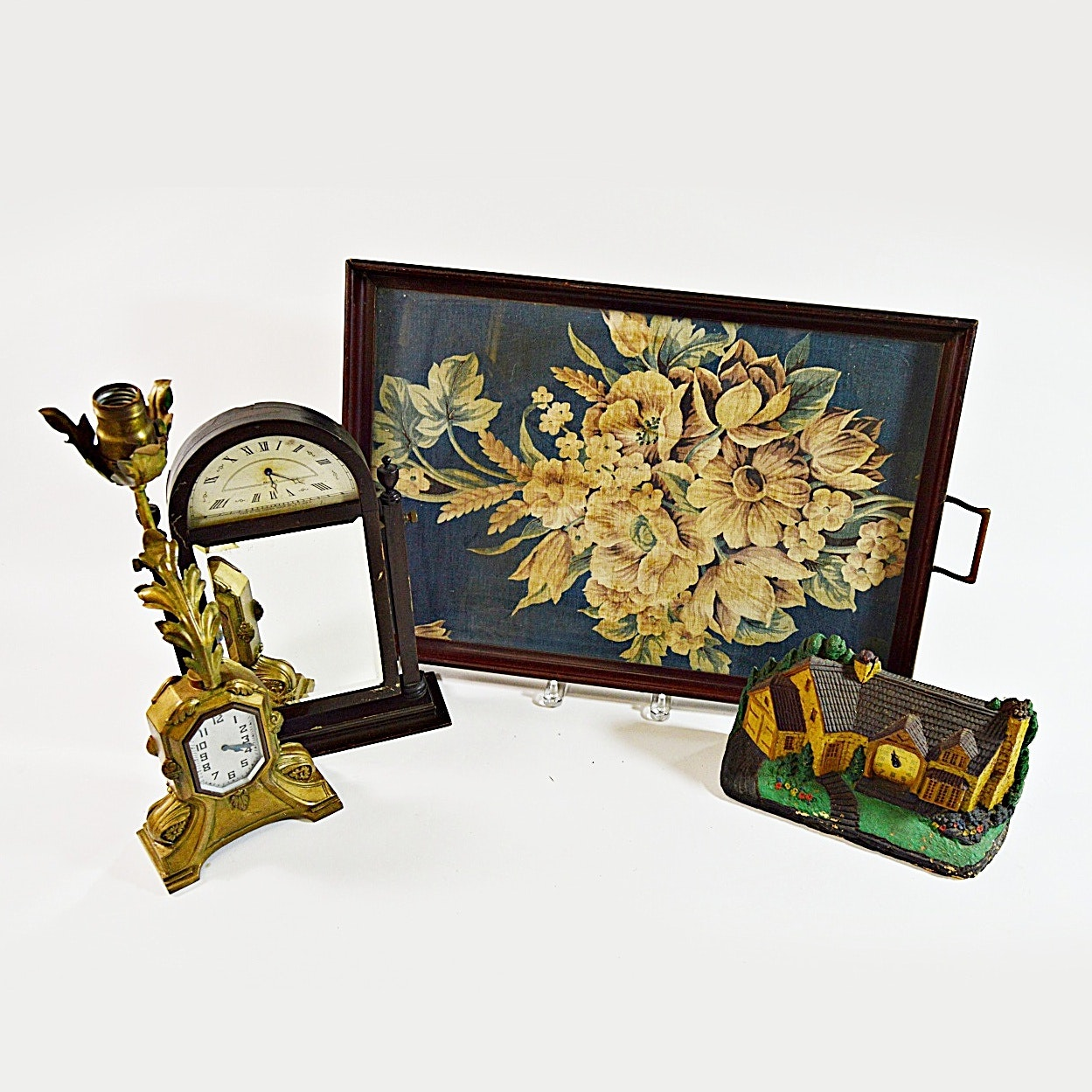 Vintage Clocks and Tray