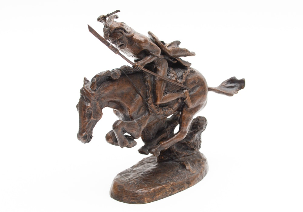 "After Frederic Remington Franklin Mint Issue Bronze Sculpture ""The Cheyenne"""