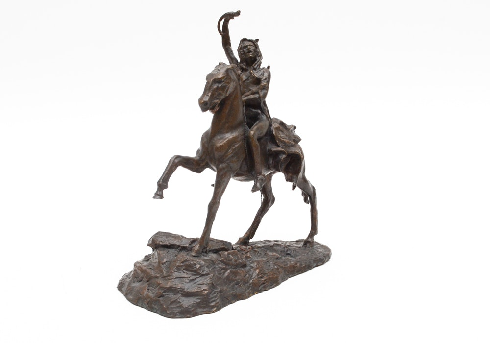 "After Frederic Remington Franklin Mint Issue Bronze Sculpture ""The Scalp"""