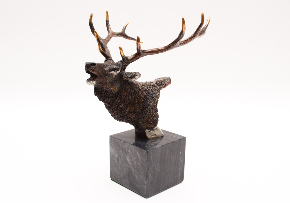 "Kitty Cantrell Limited Edition Mixed Media Elk Sculpture ""Songs of Autumn"""