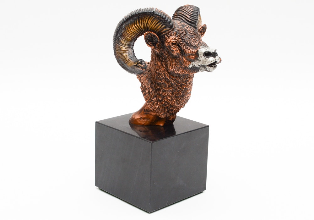 """Kitty Cantrell Limited Edition Mixed Media Big Horn Sculpture """"Mountain Majesty"""""""