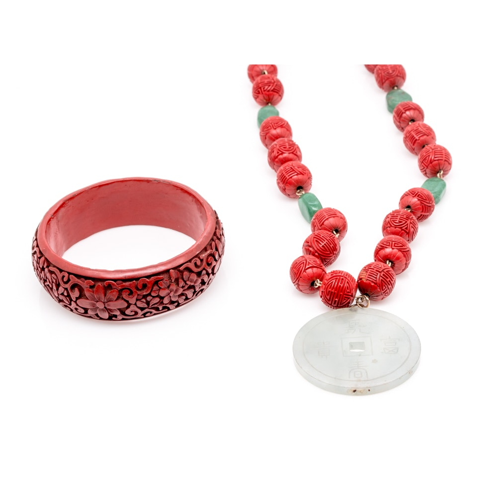 Chinese Longevity Jewelry With Gemstones and Lacquered Beads
