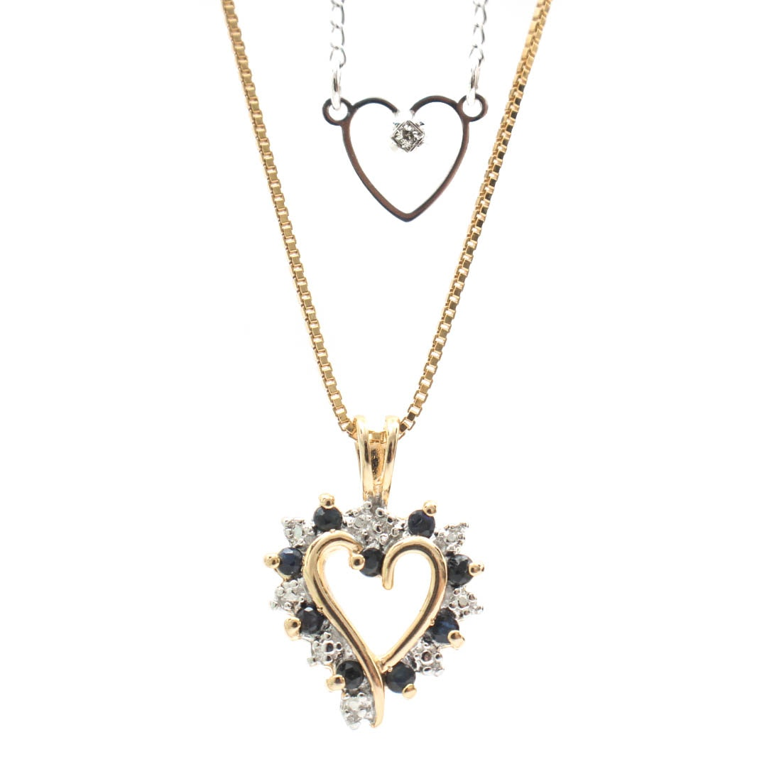 Sterling Silver Heart Necklaces Featuring Sapphires and Diamonds