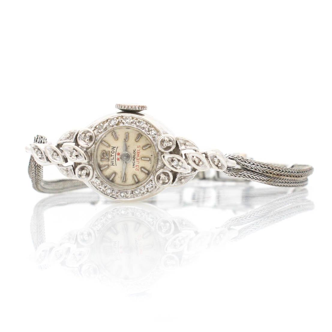 14K White Gold Diamond Hilton Wristwatch