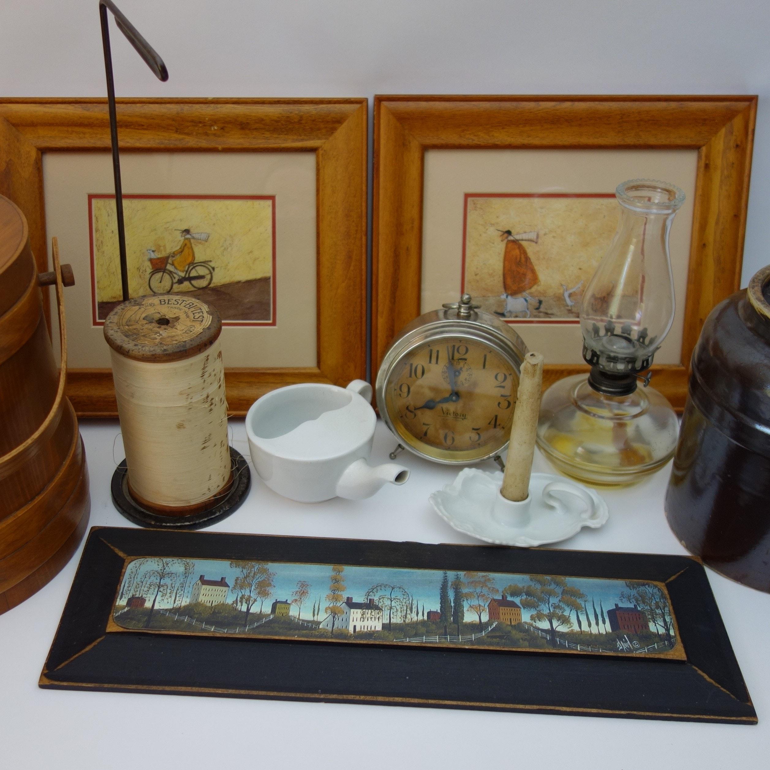 Early Firkin Sugar Bucket, Folk Art, Crock and More