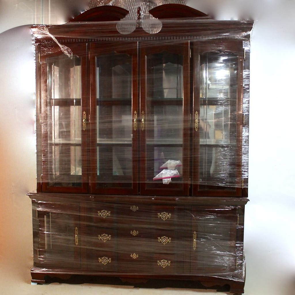 Chippendale Style Two Piece China Cabinet With Glass Doors ...