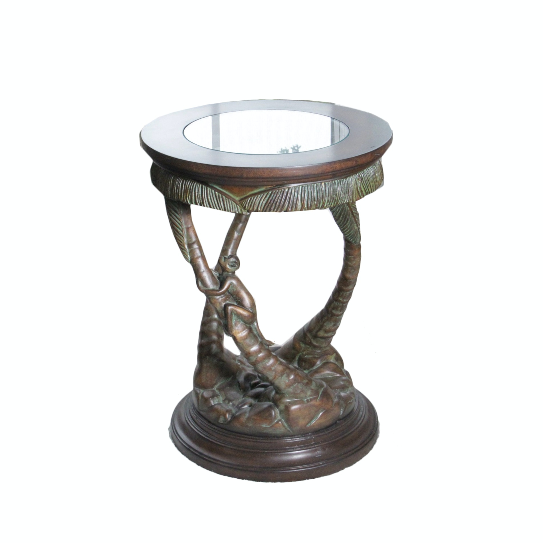 Carved Base Monkey Figural Accent Table