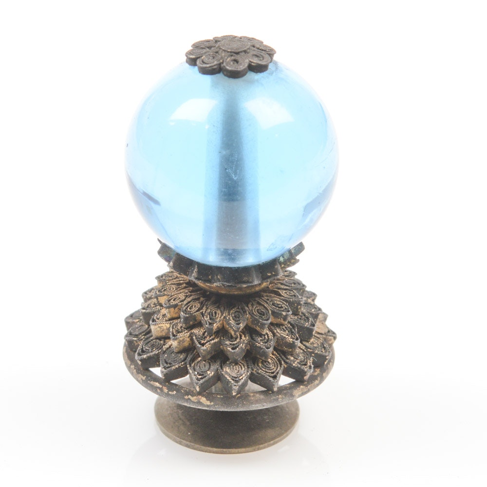 Chinese Blue Peking Glass Official's Hat Finial