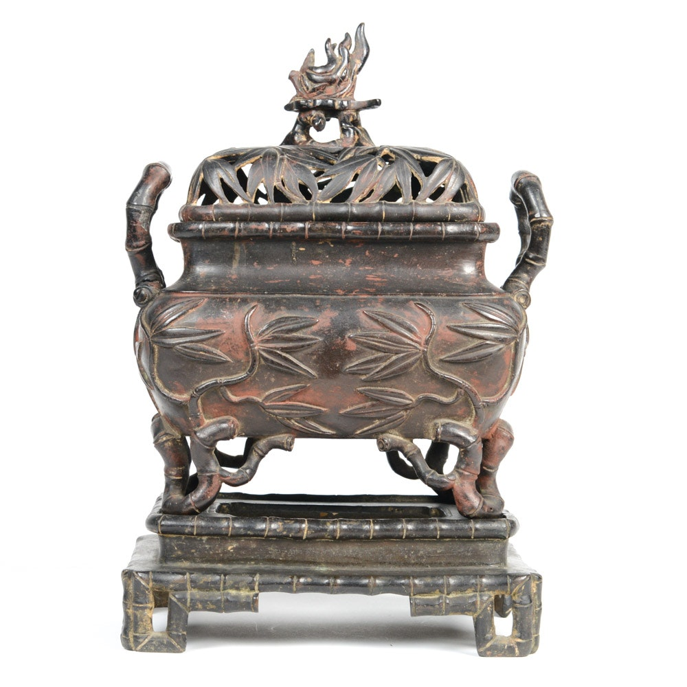 Chinese Bronze Bamboo Motif Incense Burner