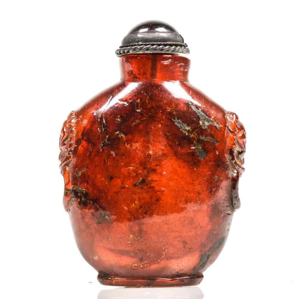 Fine Chinese Red Amber Snuff Bottle