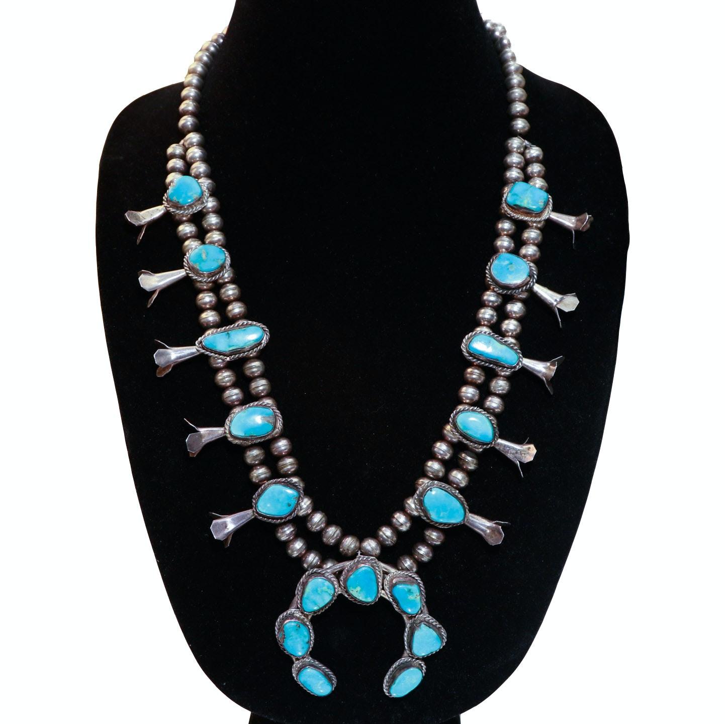 Navajo Sterling Silver Squash Blossom Necklace