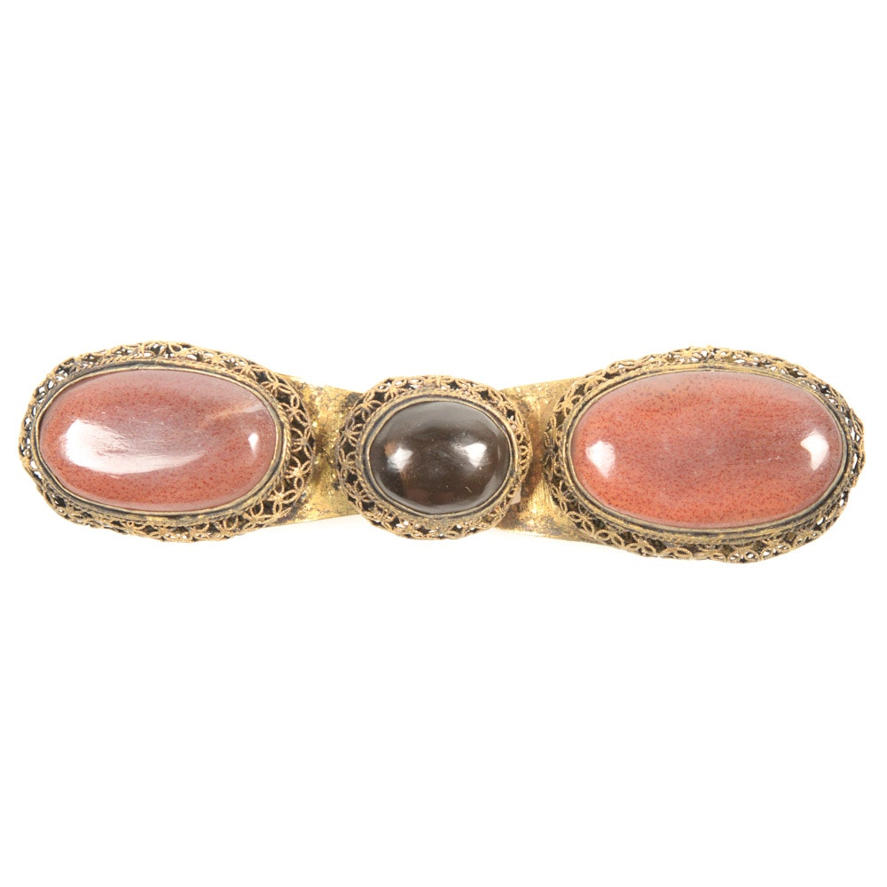Antique Chinese Brass and Imitation Gemstone Buckle