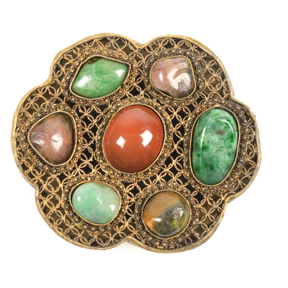 Antique Chinese Silver and Gemstone Buckle