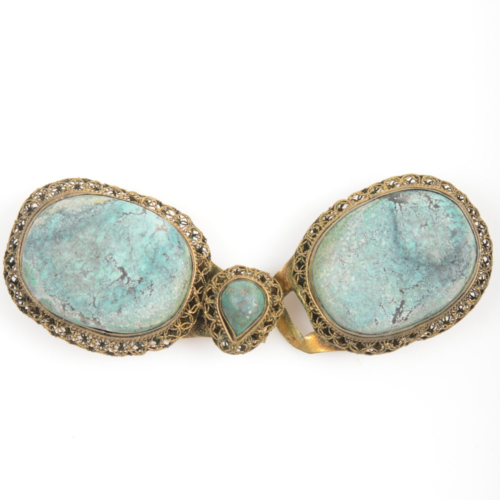 Antique Chinese Silver and Turquoise Buckle