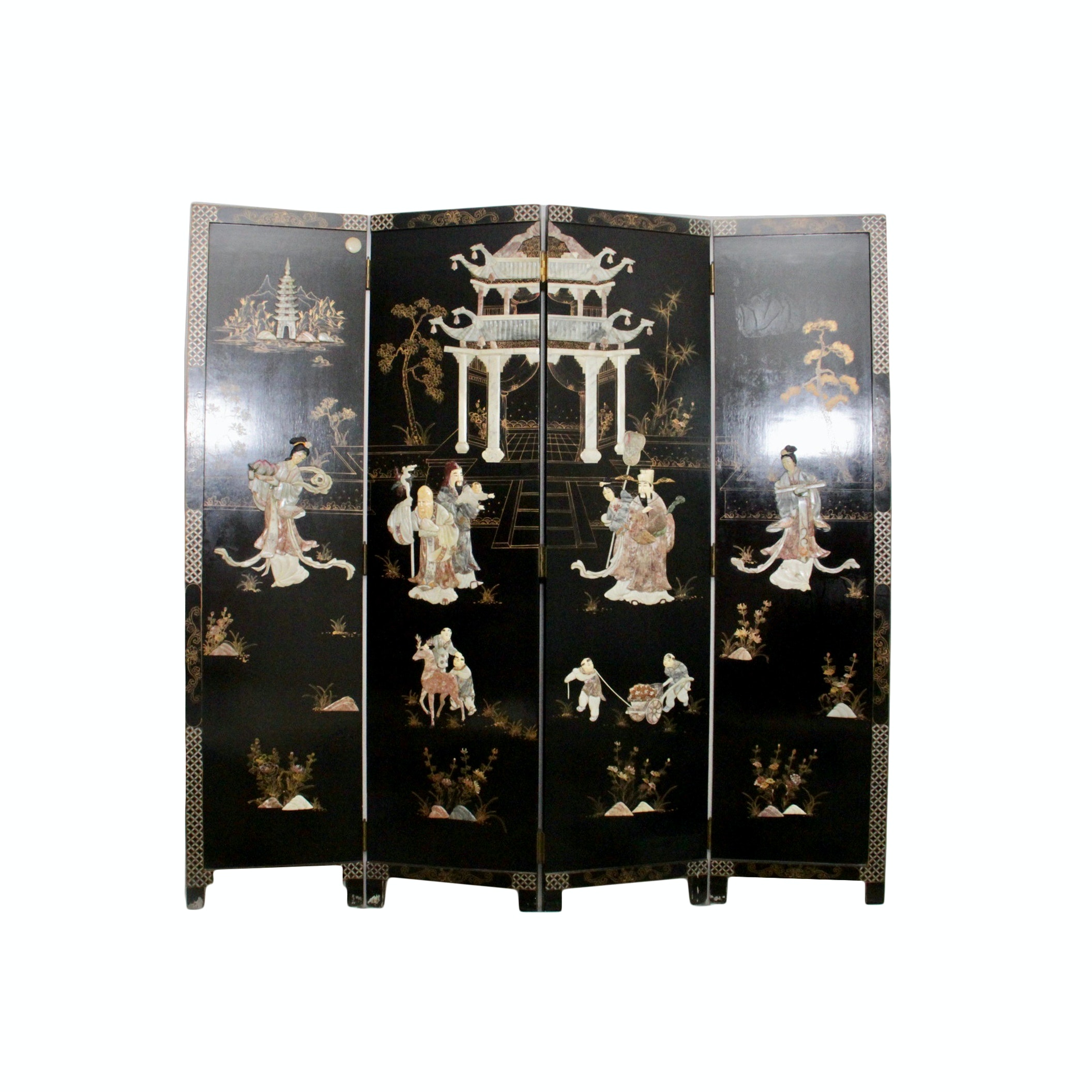 Asian Inspired Four Panel Room Divider