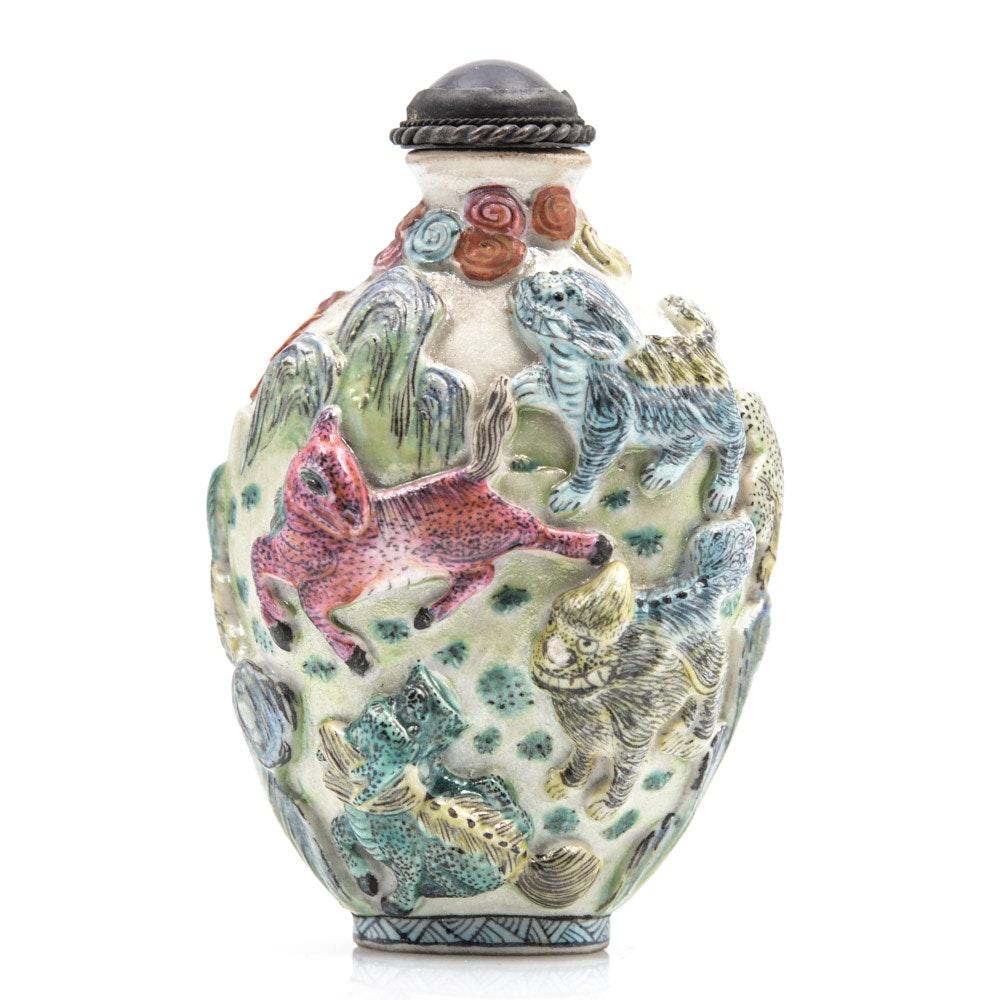 Antique Chinese Porcelain Guardian Lion Snuff Bottle