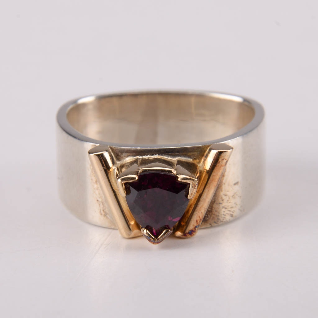 Sterling Silver and Garnet Ring With 14K Gold Bezel