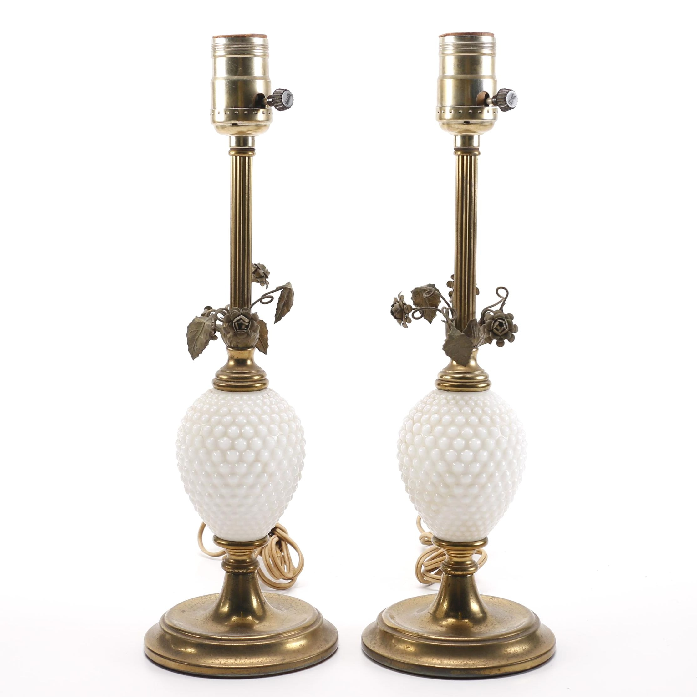 Vintage Metal and Milk Glass Table Lamps