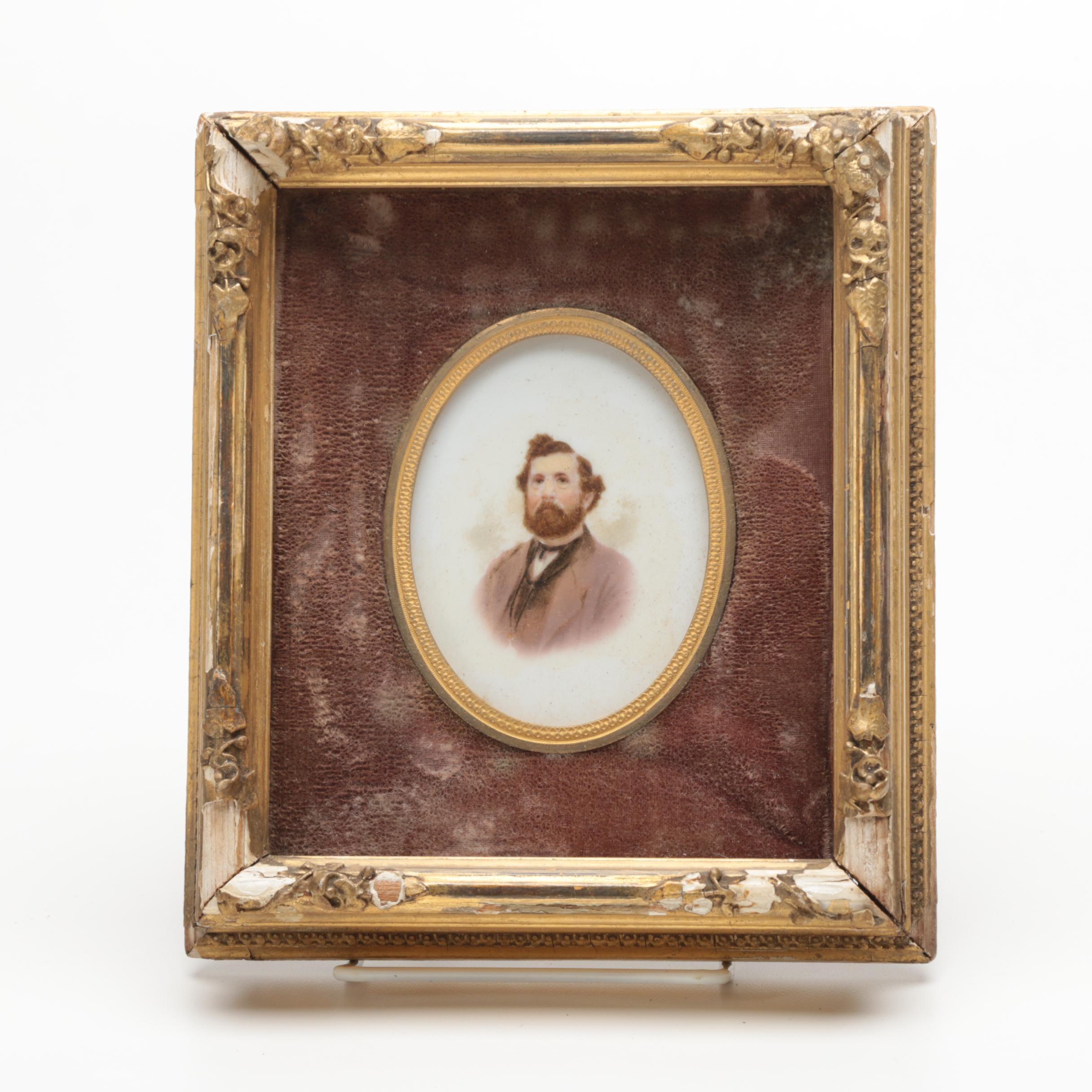 Late Victorian Gouache Portrait on Board