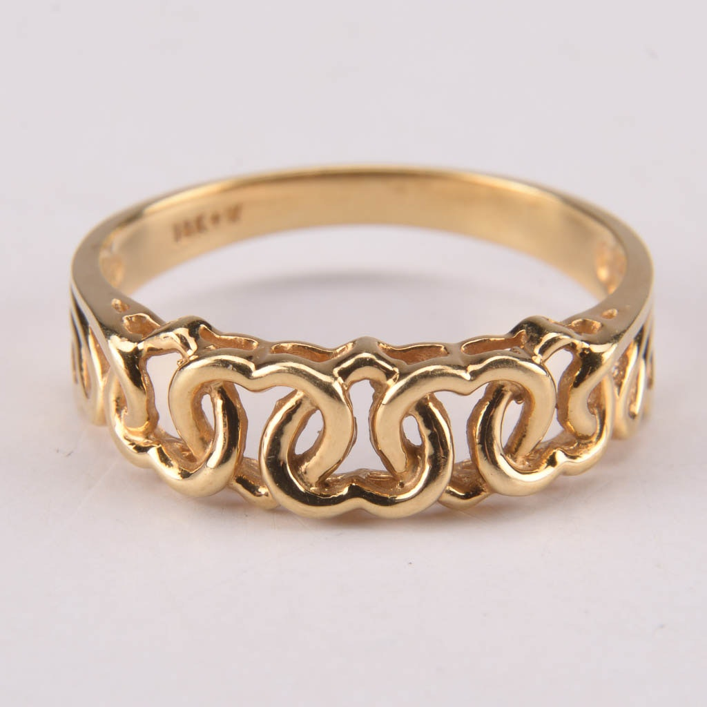 18K Yellow Gold Linked Heart Band