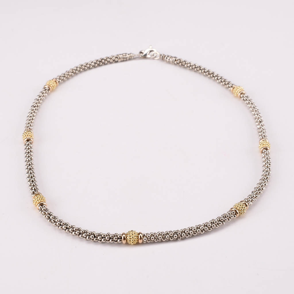 Caviar by Lagos Sterling Silver Necklace With 18K Yellow Gold Accents