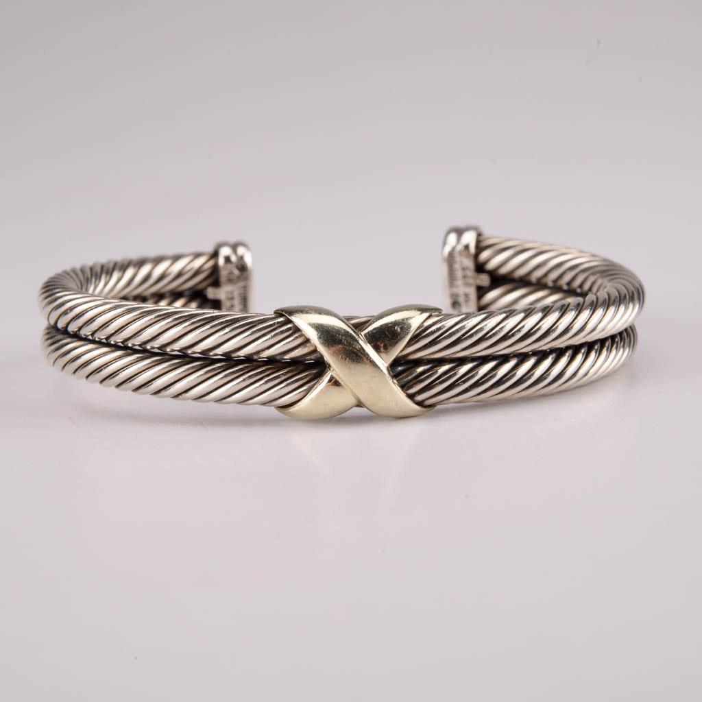 David Yurman Sterling Silver Cuff Bracelet With 14 Karat Gold Accents