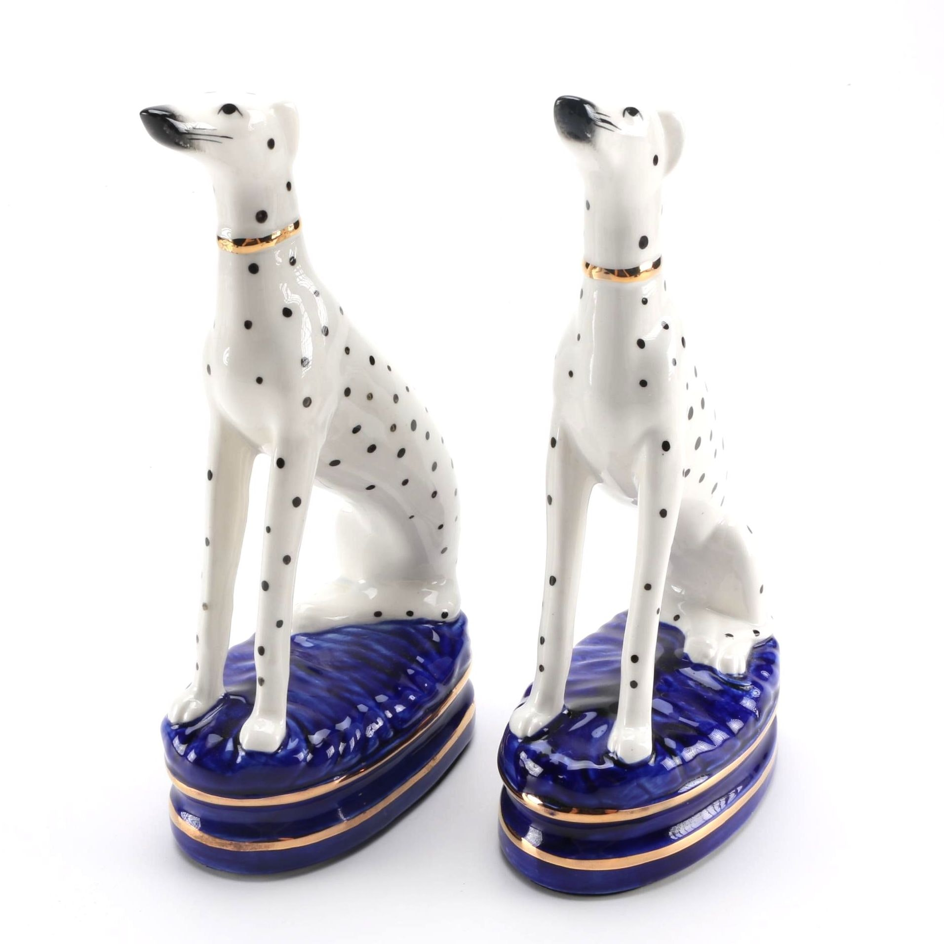 Pair of Dalmatian Bookend Figurines After Fitz and Floyd