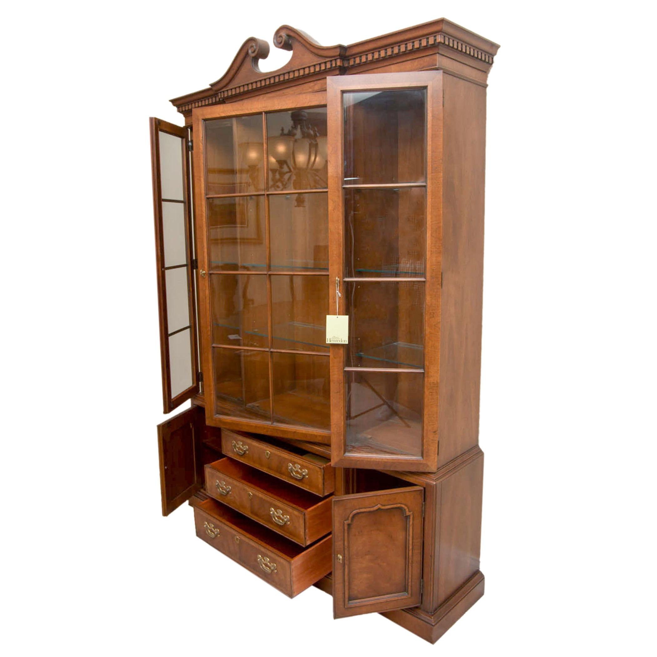 """18th Century Portfolio"" Mahogany Breakfront Cabinet by Henredon"