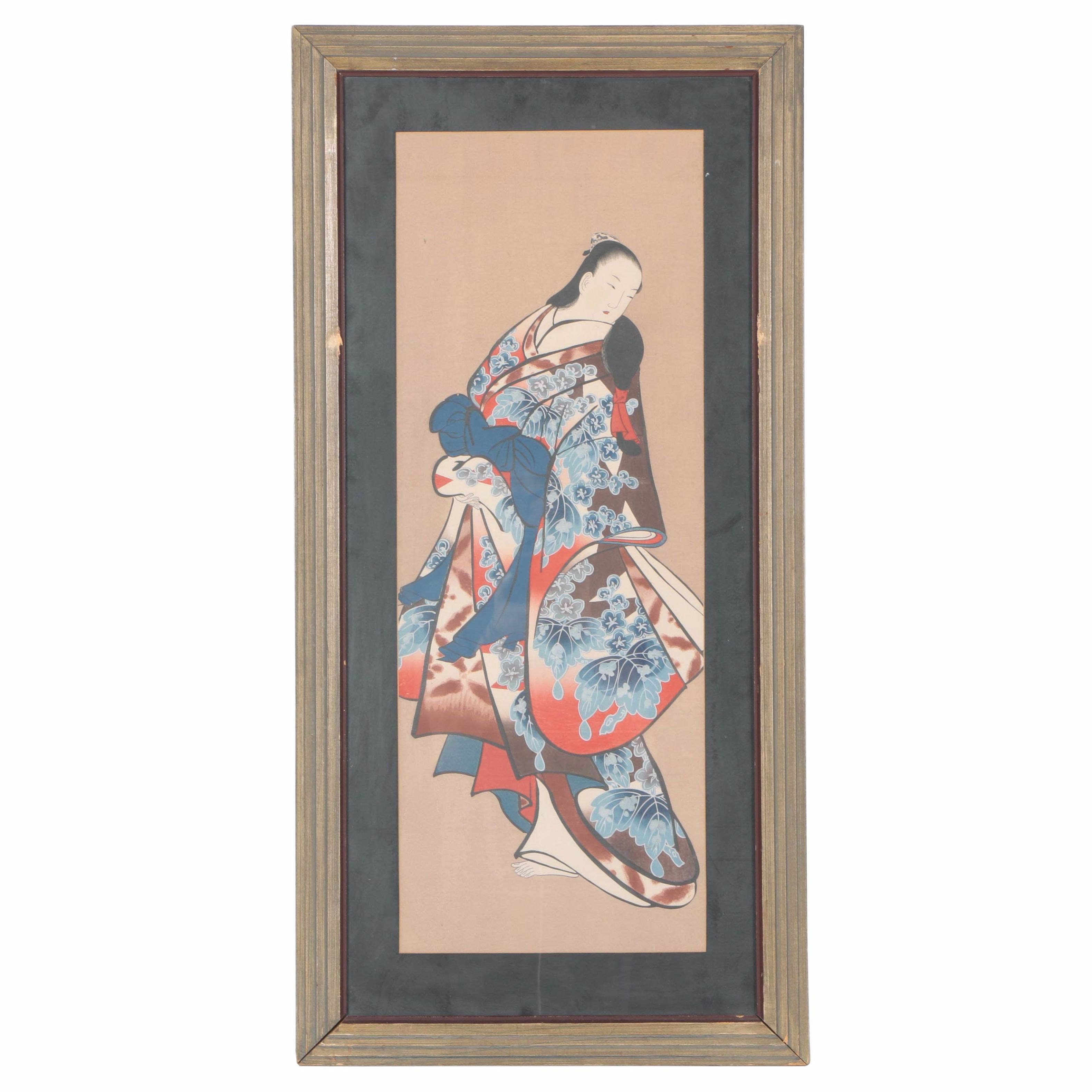 Framed Japanese Woodblock Print of an Elegant Woman