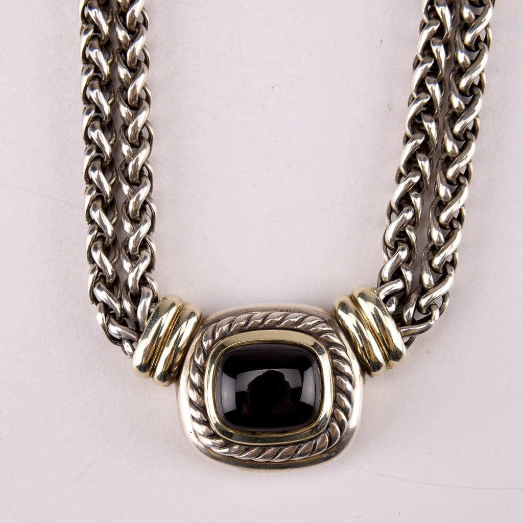 David Yurman Sterling Silver Chain Necklace With Black Onyx Pendant and 14K Gold Accents