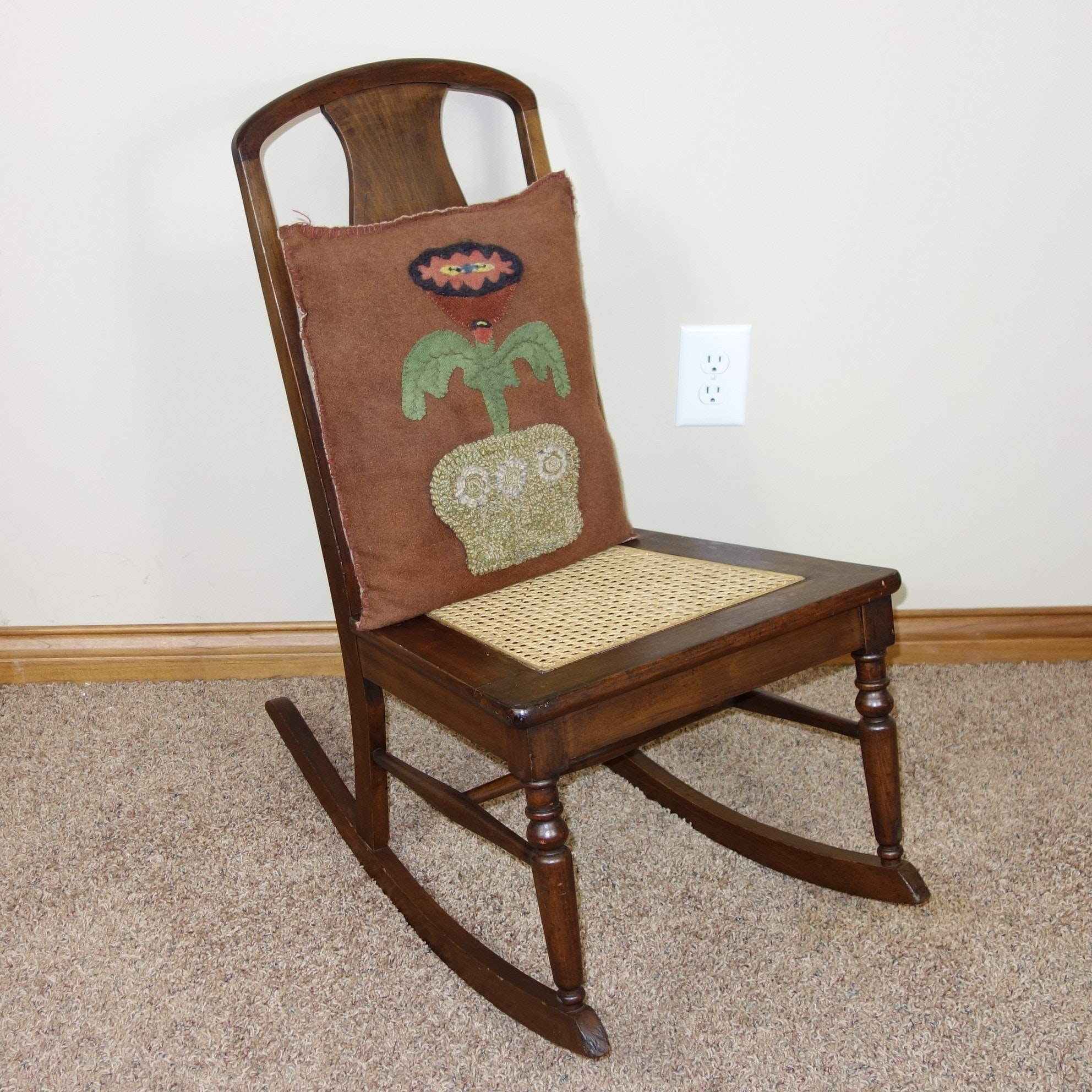Vintage Wooden Rocker with Cane Seat