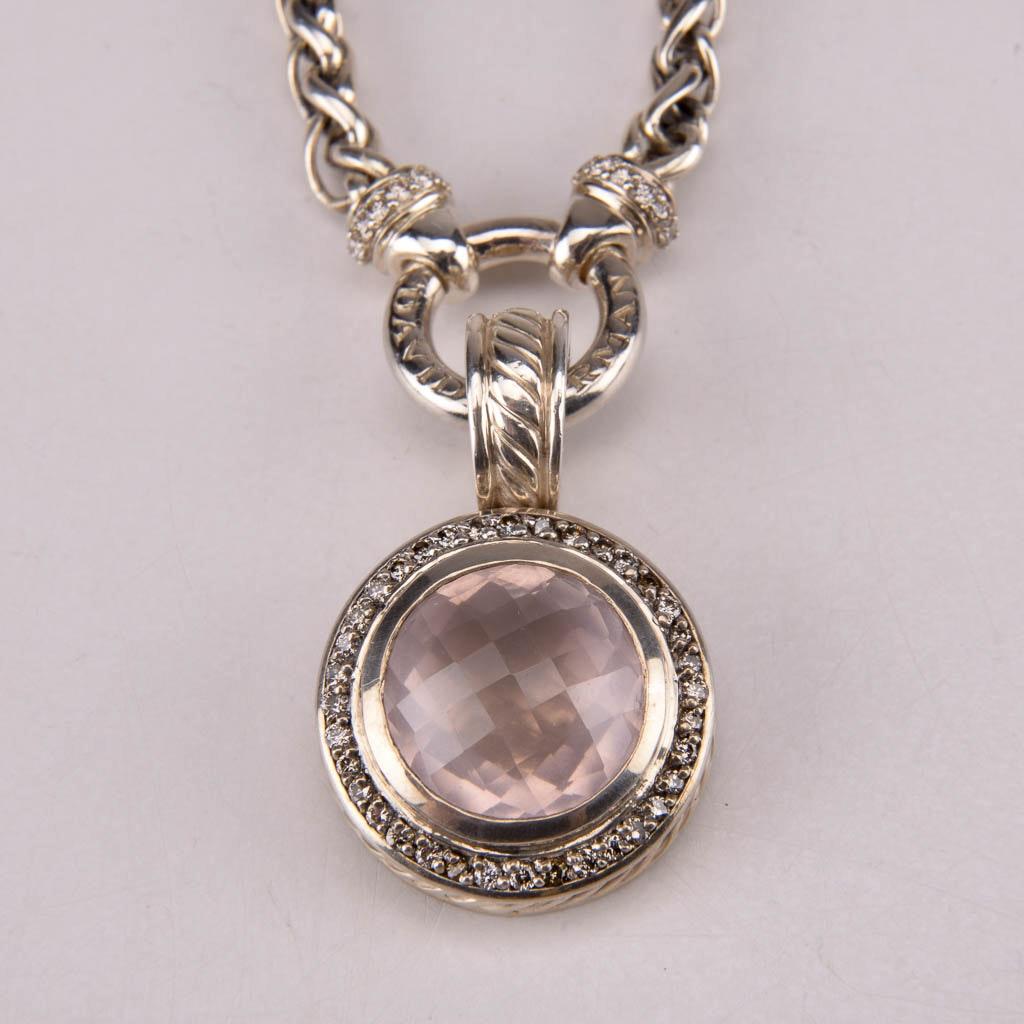 David Yurman Sterling Silver Chain Necklace With Rose Quartz and Diamond Pendant