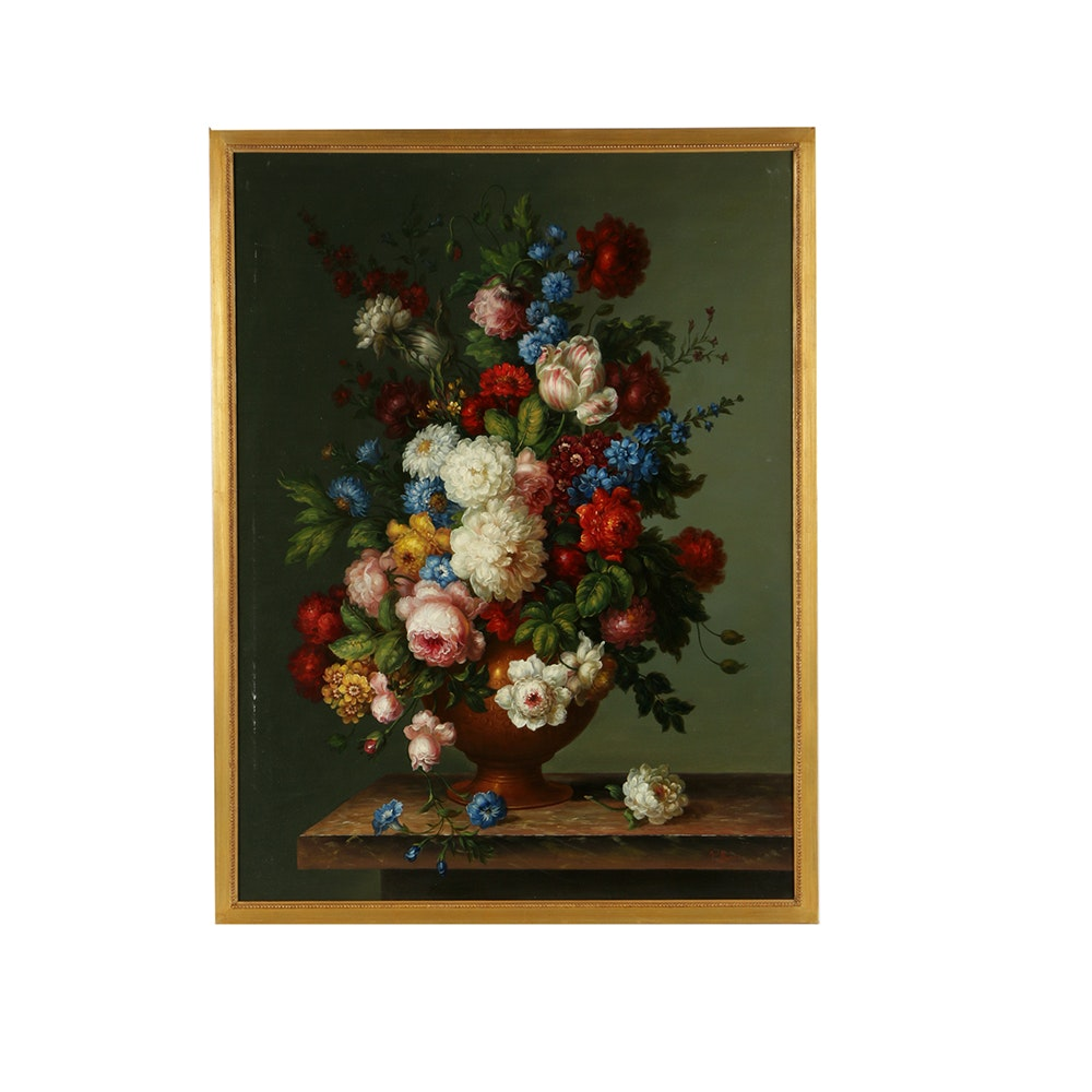 Pablo Munoz Oil Painting on Canvas Floral Still Life